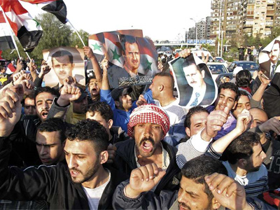 Protestas en Damasco. REUTERS/Thaier al-Sudani