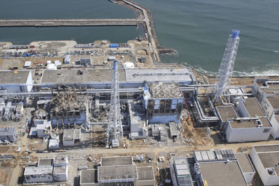 Vista aérea de las unidades dañadas de la central nuclear de Fukushima Daiichi, operada por Tepco. EFE