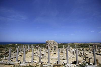 Vista de lo que era el mercado de la ciudad romana de Leptis Magna, en el noroeste de la actual Libia. -