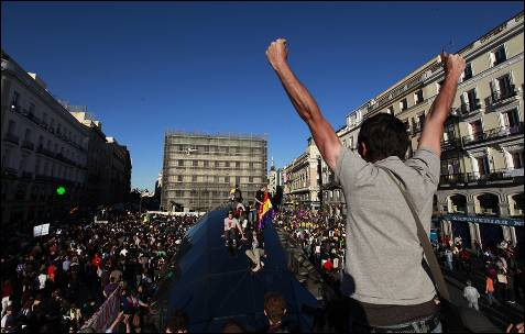 La marcha, en la Plaza del Sol.