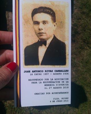 José Antonio Rivas, asesinado por la represión franquista, ha sido enterrado en Pol.