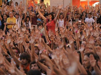 Asamblea del Movimiento 15-M en la madrileña Puerta del Sol el pasado 29 de mayo.