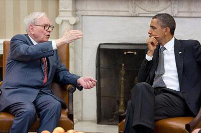 Warren Buffett con Barack Obama, en el Despacho Oval de la Casa Blanca.