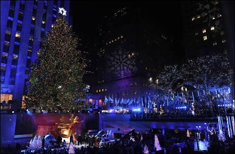 Iluminación navideña en el Rockefeller Center de Nueva York.