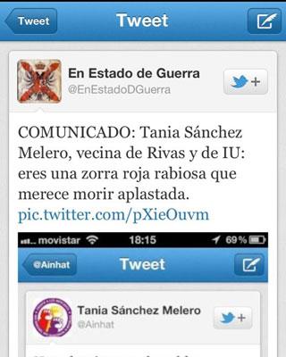 Captura del insulto a Tania Sánchez en Twitter.