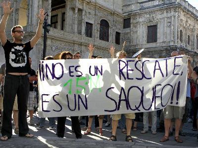 El 15-M protesta contra el rescate.