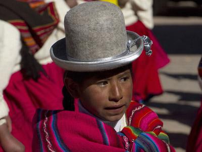 Una indígena Aymara en la ciudad boliviana de Tiwanaku.