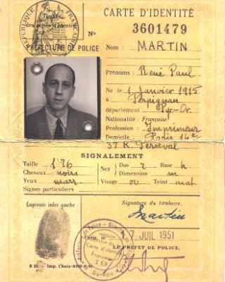 Carta de identidad utilizada por Grimau para entrar a España.