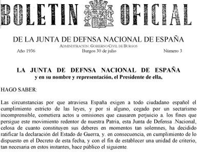 Portada del Bando de Guerra de julio del 36, primera norma de la España franquista.