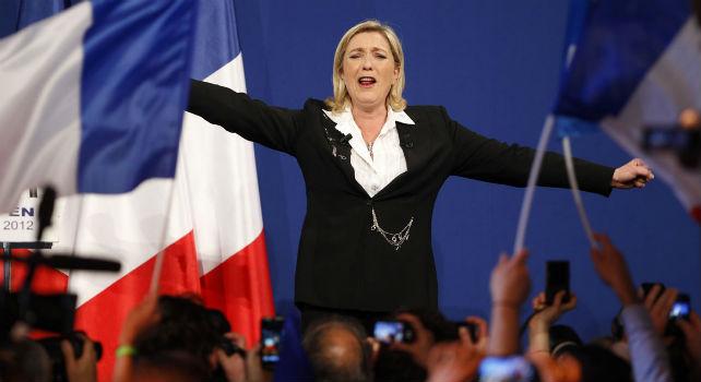 La ultraderechista Marine Le Pen durante la campaña electoral en mayo de 2012AFP