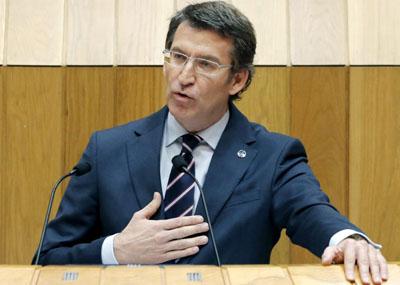 El presidente de la Xunta, Alberto Núñez Feijóo, durante su intervención en el Parlamento gallego para explicar su relación con el narco Marcial Dorado.EFE.