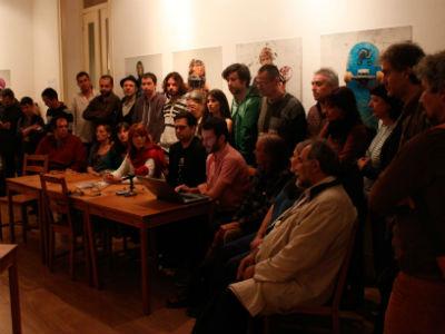 Miembros de diferentes colectivos ciudadanos europeos durante la rueda de prensa ofrecida en Lisboa. JAIRP VARGAS