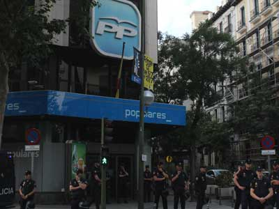 Protestas del 9 de julio de 2013 frente a la sede del PP en Madrid. ALM