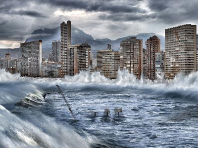Simulación de cómo el cambio climático y la destrucción del Ártico podrá afectar a Benidorm. GREENPEACE