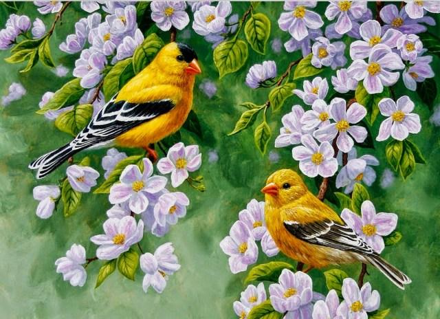 Imagen de pintura al oleo de dos avecillas con flores