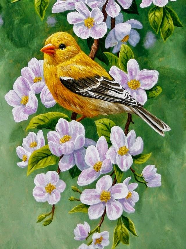 foto de cuadro al oleo pajaro y flores