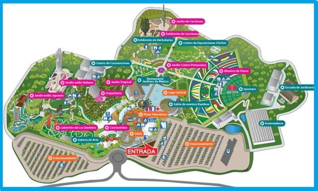 Mapa jardines de Mexico Jardin mas grande del mundo