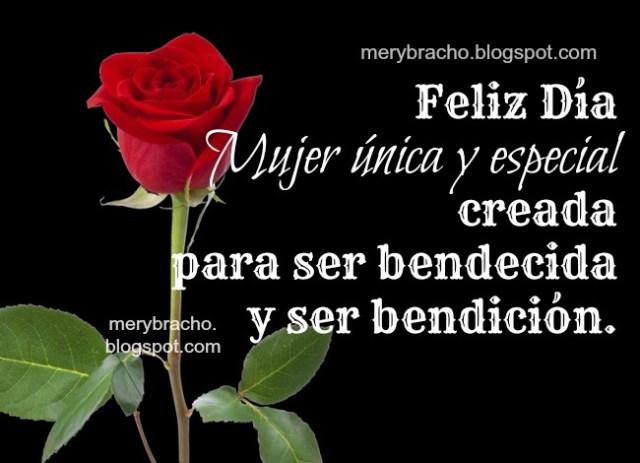Imagen de una rosa roja con una frase para dedicar el día de la mujer