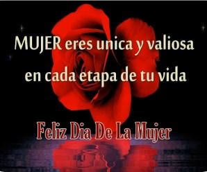 Imagen con rosas rojas y poemas en el dia de la mujer
