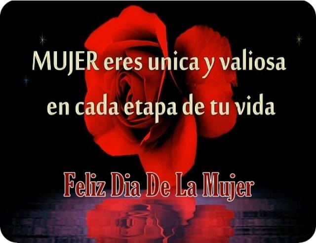 Imagen de una rosa roja y una dedicatoria para el día de la mujer
