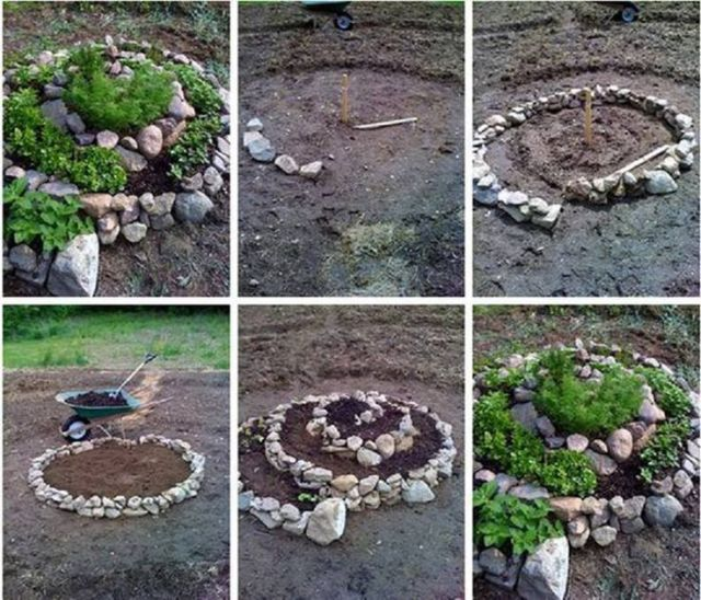 imagen como hacer jardineras con piedras de rio