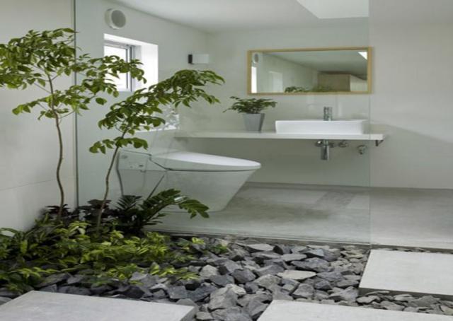 Imagen de jardin con piedras en el baño