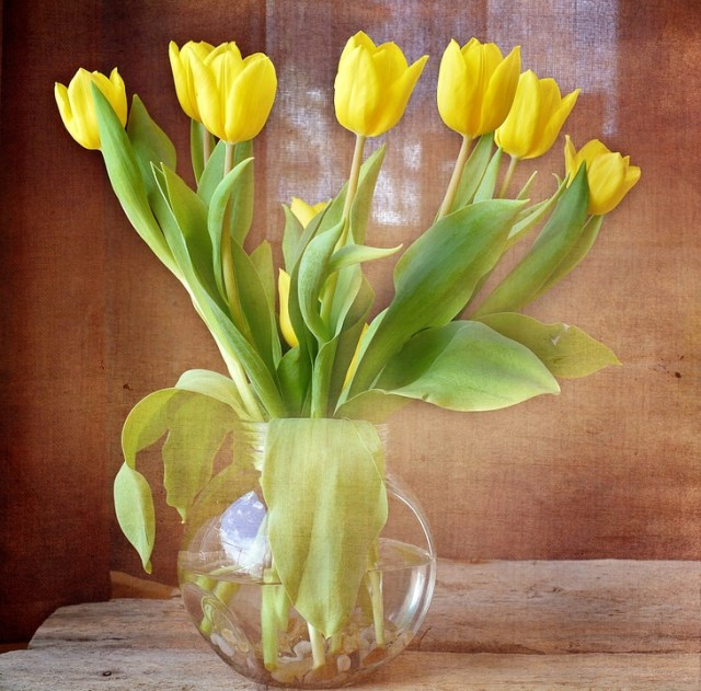 Imagen jarron con tulipanes amarillos