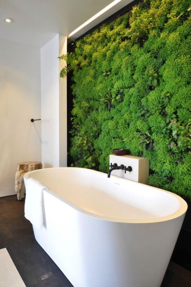 Jardin vertical en el baño
