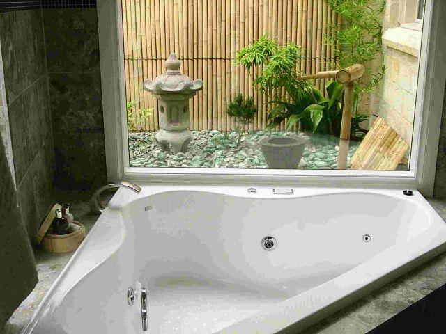 imagen de baño con jardin zen