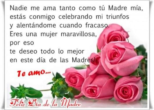 Feliz dia de la madre con mensajes y rosas
