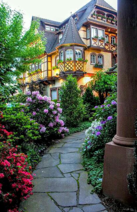 Imagenes de casas con jardines de flores para el celular