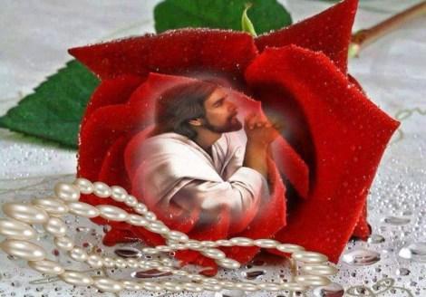 Lindas imagenes de rosas con la imagen de Jesus para enviar por mensaje