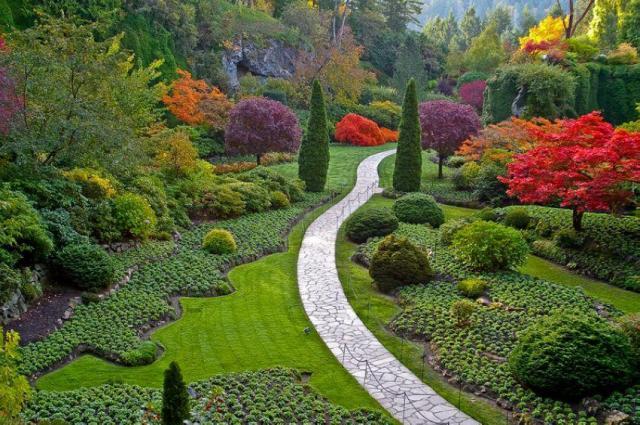 Hermosos paisajes del jardin Butchart Canada para fondo de celular
