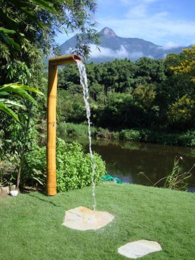 Ideas de fuentes de agua con guadua para decorar jardines