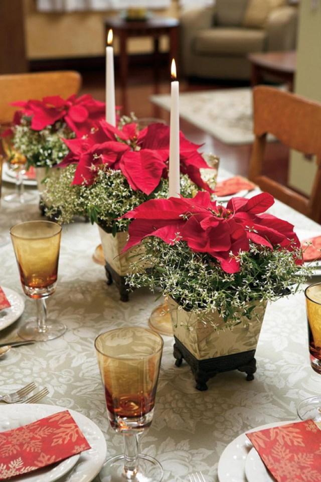 Como decorar la mesa en navidad con flores de pascua