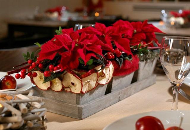 Ideas para decorar la mesa en navidad con flores de pascua