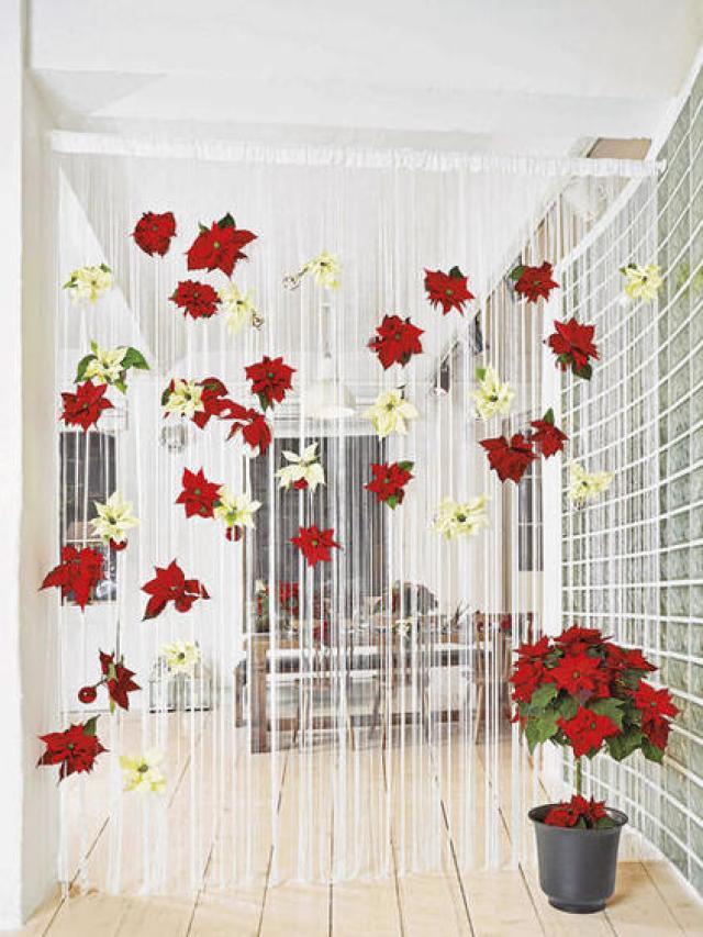 como decorar la casa con en navidad con poinsettias