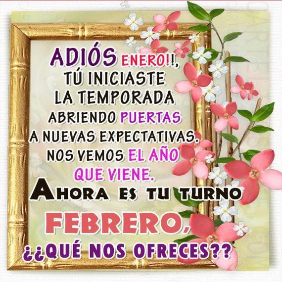 Mensaje adios enero y Bienvenido Febrero con flores para compartir