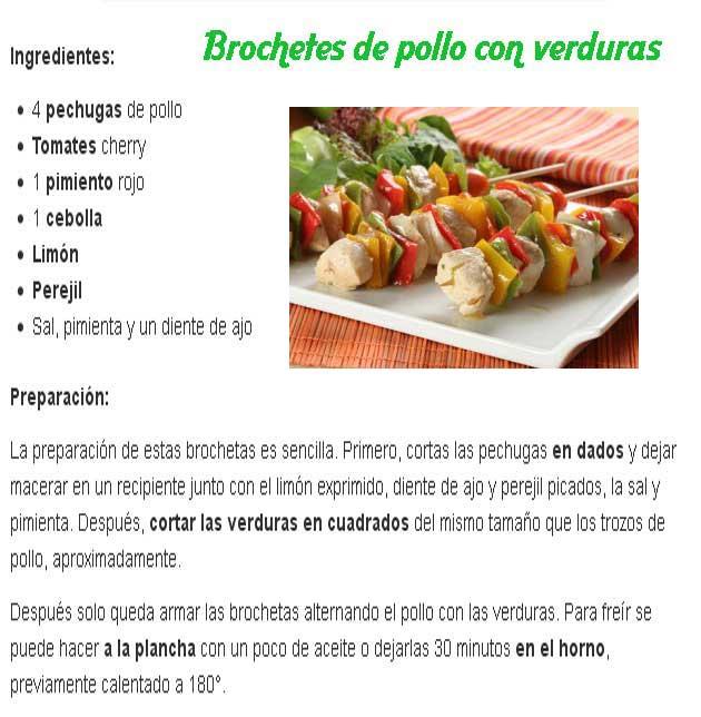 Receta de brochetes de pollo con verduras