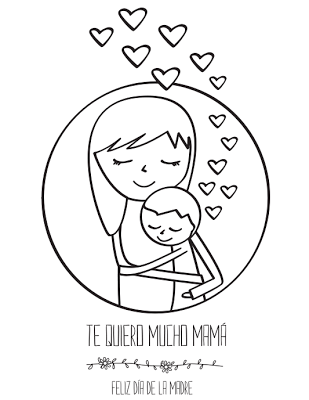 Postales para pintar y con mensajes del Día de la Madre