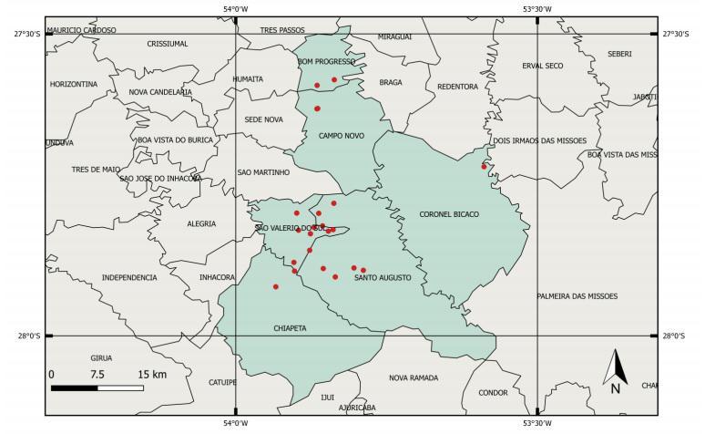 mapa de localização dos gafanhotos no RS