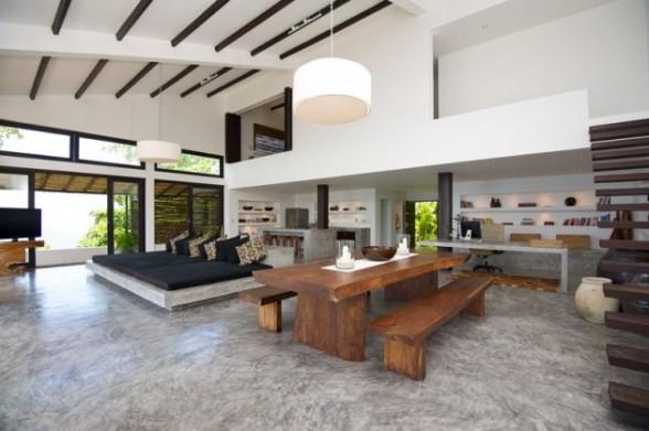 Inspiring-Modern- Sala de estar com piso de cimento queimado