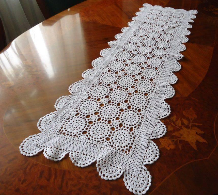 caminho de mesa de croche branco simples