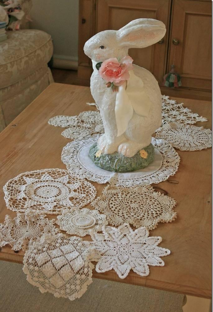 caminho de mesa de croche coelho