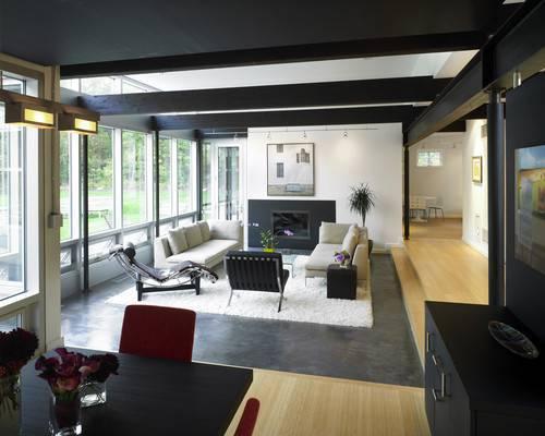 living-room 2 Sala de estar com piso de cimento queimado
