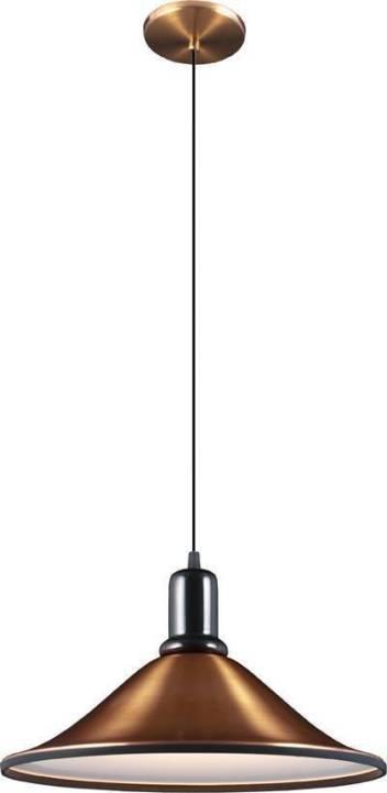 Lustre na cor cobre da Loja Lustre Yamamura. Perfeito para ser colocado acima de uma mesa de jantar e iluminar bons momentos. Feito Alumínio, sai por R$ 254 e mede 15cm de altura por 40cm de diâmetro. Sua referência é 8293155.