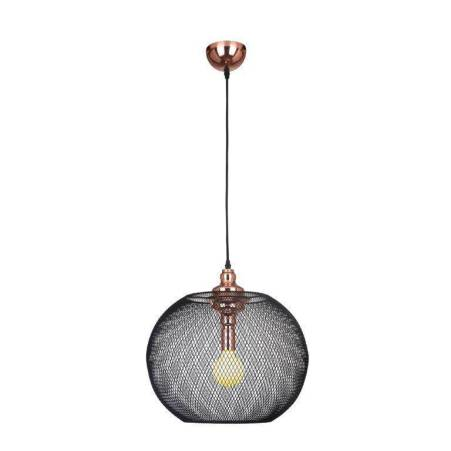 De metal, esse é o Lustre XN005 das Lojas Yamamura. Sua cúpula é preta e seu interior é em cobre. Mede 49,5cm de altura por 50cm de diâmetro e é uma ótima opção para quem deseja ter em casa uma peça sofisticada e que vão deixar as visitas encantadas. Seu código é 8624319.
