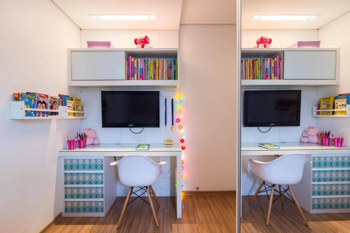 escrivaninha quarto de menina gavetas decoradas buji 67028