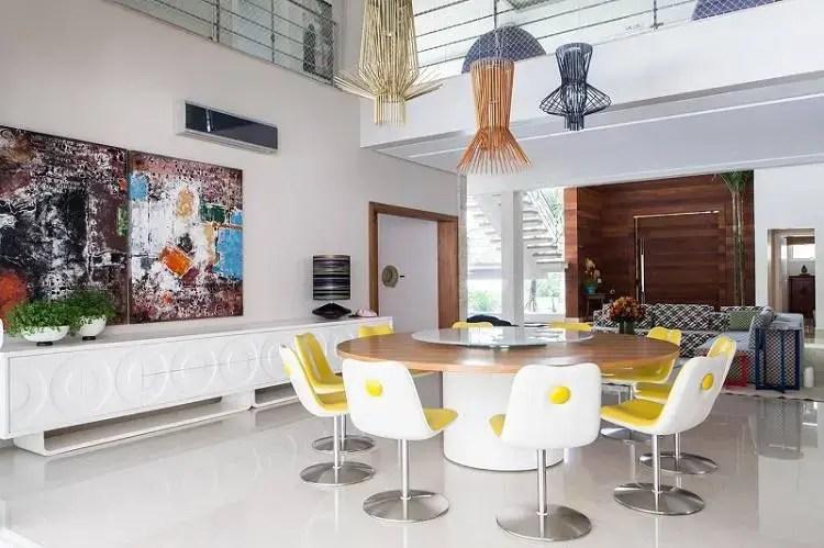 cadeiras sala de jantar giratória branco e amarelo olegario de sa 108328