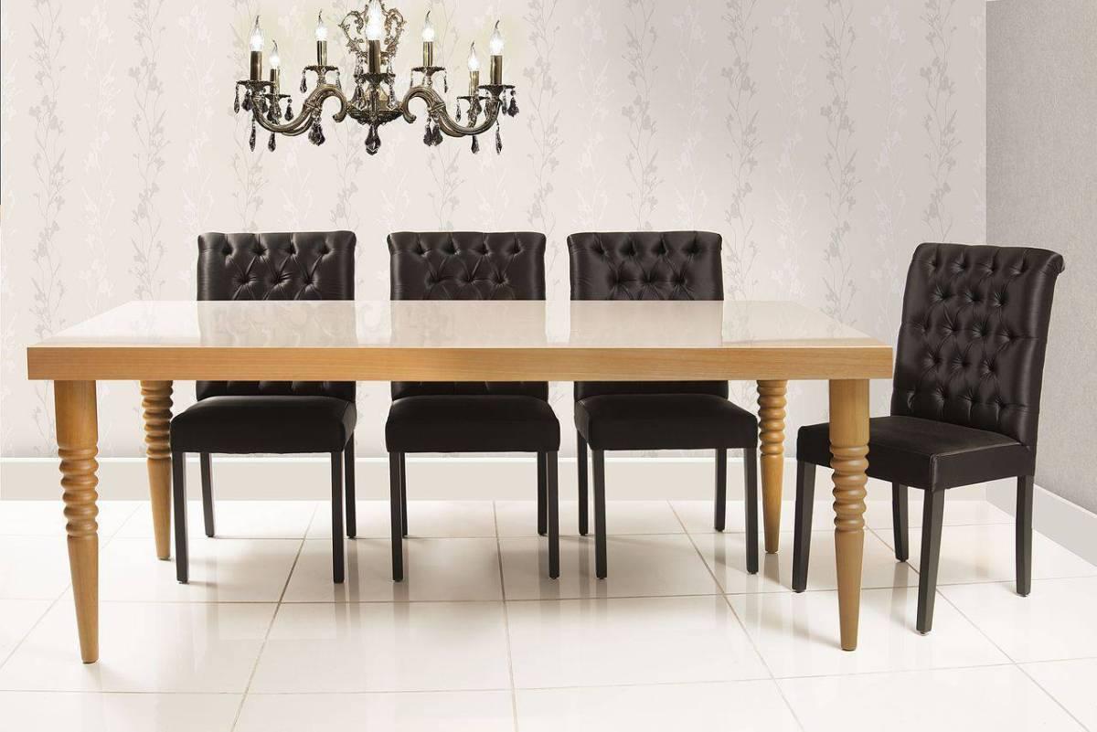 cadeiras sala de jantar preta estofada mobiliario daf 134850